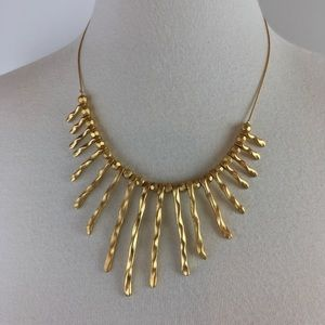 VCLM TM Gold Tone Bar Dangling textured Necklace